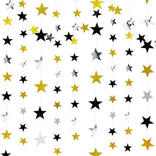 Whaline 52.5 Feet Reflective Star Paper Garland Black Silver Gold Glitter Star Bunting for Wedding, Birthday, Party Supplies, Baby Shower, Anniversary, Room Decor