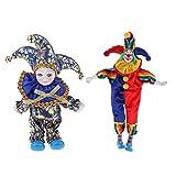HomeDecTime 2 Piezas de Figuras de Payaso de Porcelana Vintage Pintadas a Mano, Coleccionables Antiguos, Adorno de Artesanía de Muñecas de Arlequín de Porcelana V