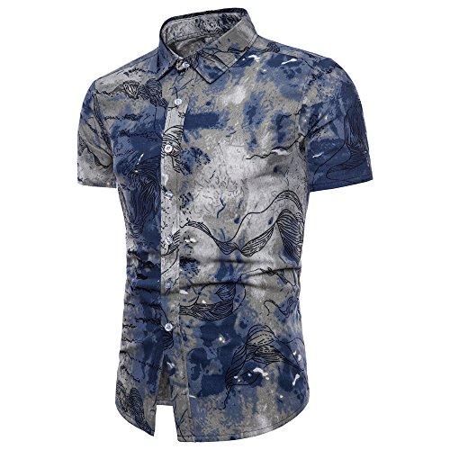 UJUNAOR Männer Shirt Linen Bohé Blumendruck Kurzarm Hawaii Grundlegende Top für Oktoberfest Plus Größe(Blau,CN 2XL)