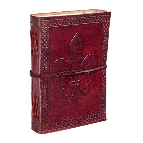 Fleur de Lis Leder-Tagebuch | 13,5 cm x 18,5 cm | Handgemachtes, Fair-Trade-& Umweltfreundliches Ledergebundenes Notizbuch Alternative für Männer und Frauen