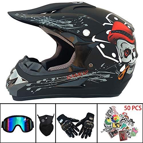 Casco de Motocross Hijos adultos Bicicleta de montaña Moto de carretera Cara completa Casco protector D.O.T Certified para ATV/MX/BMX/Enduro/MTB(Guantes,gafas,mascarilla,pegatinas gratis),B,XL