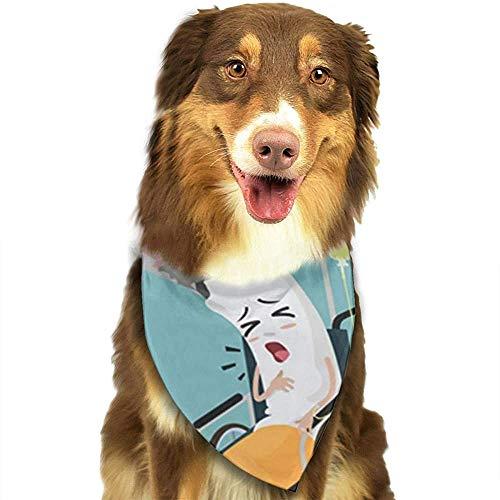 YAGEAD Pañuelo para Perros Cachorro y pañuelos para Mascotas, Silla Cigarrillo de Dibujos Animados Estar Enfermo y Sentado en Silla de Ruedas Enfermedad por discapacidad Bufanda para Mascotas