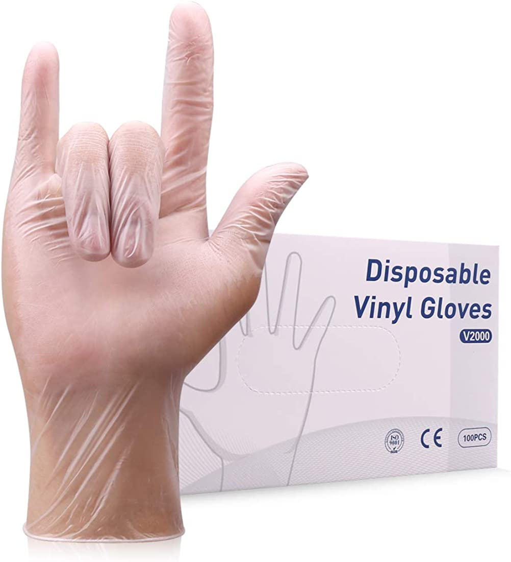 Disposable Vinyl Gloves 100pcs 3 Mil Powder Free Disposable Gloves for Industrial Use