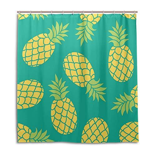 CPYang Duschvorhänge, tropisches Ananas-Muster, wasserfest, schimmelresistent, Badevorhang, Badezimmer, Wohndeko, 168 x 182 cm, mit 12 Haken