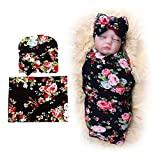 DRESHOW 1 Pack BQUBO Newborn Floral Receiving Blankets Newborn Baby Swaddling with Headbands or Hats Sleepsack Toddler Warm