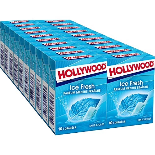 Hollywood Icefresh - Chewing-gum sans sucres parfum Menthe Fraîche - Lot de 20 paquets de 10 dragées