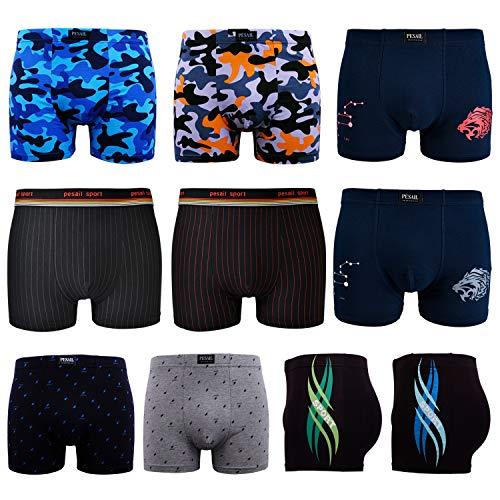 L&K 10er Pack Boxershorts Baumwolle Herren Unterwäsche Pants in vielen Musterkombinationen 1112 XL