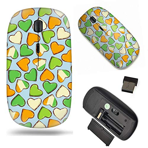 S-Type Optical 2.4G Wireless Mouse with Nano Receiver - Shamrock Clovers and Hearts for St. Patricks Day