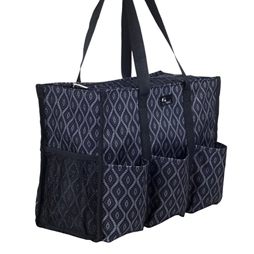 Pursetti Zip-Top Organizing Utility Tote Bag with Multiple Exterior & Interior Pockets for Working Women, Nurses, Teachers and Soccer Moms (Black Trellis)