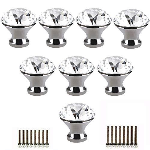 Tencro 8 piezas 30 mm en forma de diamante perillas de cristal de lujo perillas de vidrio con tornillos para la puerta del cajón, puerta del armario, puerta del armario, cocina, etc. - plata