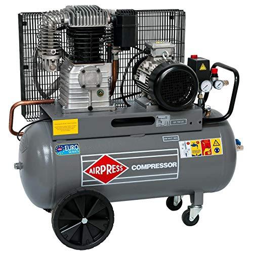 Airpress® ölgeschmierter Druckluft-Kompressor 5,5 PS   4 kW 11 bar 90 Liter Kessel 400 Volt großer Kolben-Kompressor HK 700-90