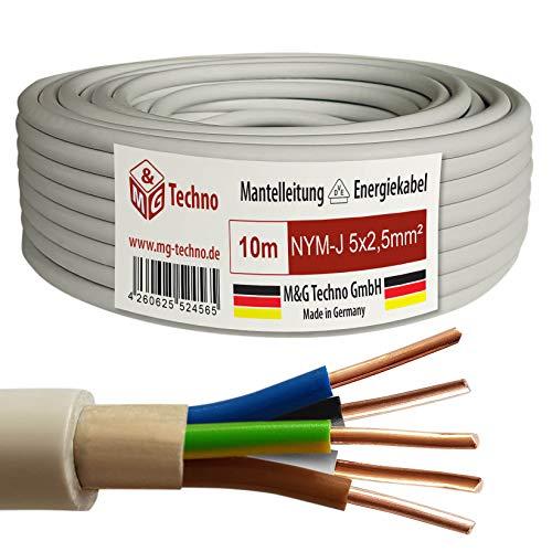 M&G Techno 10m NYM-J 5x2,5 mmІ Mantelleitung Feuchtraumkabel Elektrokabel Kupfer Made in Germany