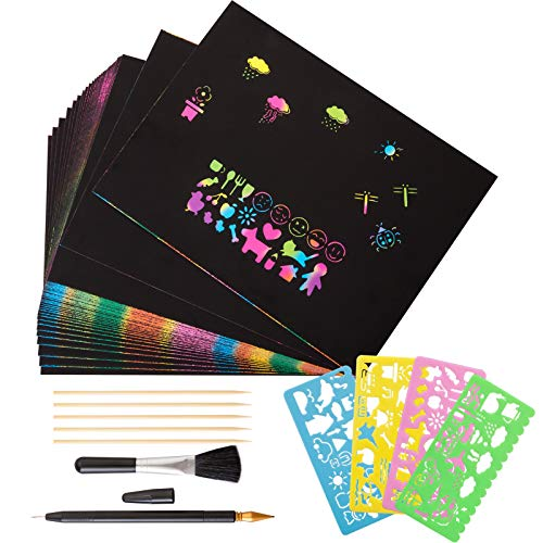 Kesote Kratzbilder Kinder 40 Kratzpapier Regenbogen Große mit 4 Schablonen und 6 Kratzstifte 1 Pinsel zum Basteln DIY Zeichnen Malen (A4, 28 x 21 cm)