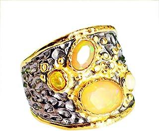 Ravishing Impressions Jewellery Anillo de plata de ley maciza 925 con piedra de ópalo natural, joyería hecha a mano, para ...