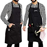 Ruvanti Durable Goods - Professional Grade Chef Apron for Kitchen, BBQ, and Grill with Tool Pockets + Extra Long Ties Adjustable M to XXL (1 Pack, Black)