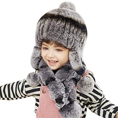 Sombrero gorra nio pequeo beb sombrero de piel sombrero conjuntamente punto de punto sombrero con la polla de los nios y el sombrero de invierno para nios 1-8 aos de edad sombrero de punto (colo