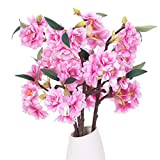 XHXSTORE 4Pcs Artificial Cherry Blossom Silk Flowers Bouquet Faux Pink Branches Peach Blossom Artificial Flower Stems Fake Floral Arrangements for Indoor Outdoor Wedding Party Hotel Vase Home Decor
