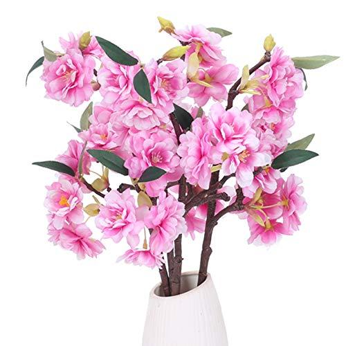 XHXSTORE 4pcs Künstliche Zweige Kirscheblüten Seidenblumen Kirsche Künstliche Sakura Blumen künstliche Kirschblütenzweige Rosa Kunstblumen für Vase Hochzeit Zuhause Frühling