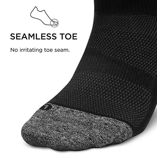 Feetures - Elite Light Cushion - Quarter - Athletic Running Socks for Men and Women - Black - Size Large
