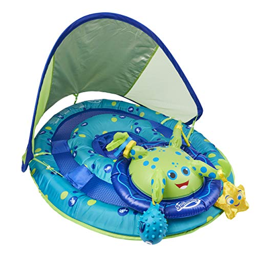 SwimWays Baby Spring Float Activity Center with Canopy  Inflatable Float for Children with Interactive Toys and UPF Sun Protection  Blue/Green Octopus