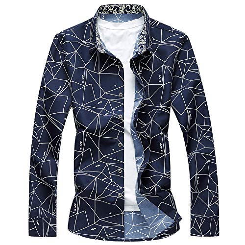 Beastle Men's Cardigan Spring and Autumn Long-Sleeved Shirt Personalized Printing Large Size Lapel Casual Top Medium Dark Blue