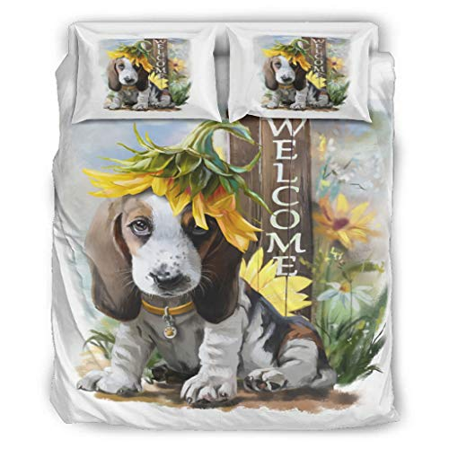 Banniyouall Animal Beagle Dog Flower Ultra Soft And Comfortable Comforter Sets Machine Washable 1 Duvet Cover+2 Pillow Shams