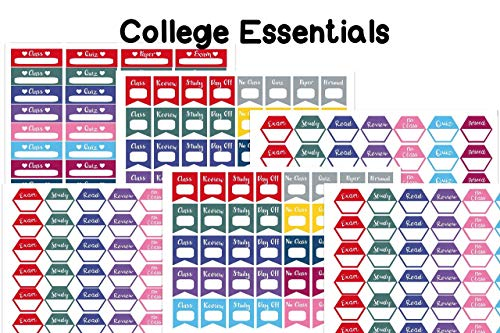 College Essential planner/organizer stickers. 228 stickers on 6 sheets on matte sticker paper. Sized to fit most planners.