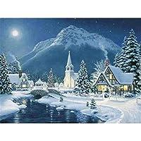 冬の子供たちの山のそばの2000ピースパズルクリスマスビレッジ大型ジグソーパズルおもちゃギフト75X105cm