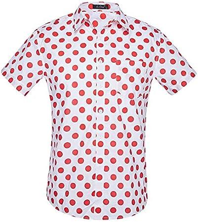 LFNANYI Camisa Hawaiana de Lunares Rojos Hombres Verano Nuevo ...