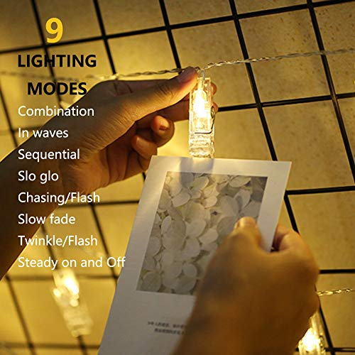 VENNKE 50 LED Photo Clips String Lights, Dimmable 9 Modes Remote & Timer Function Dual Powered Choice, Fairy Wedding Party Christmas Decor Lights for Hanging Photos Pictures Cards Artworks(N01) 6