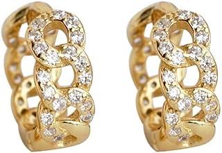 CZ Chain Hollow Cuff Small Hoop Earrings for Women Girls Cartilage Sensitive Ear Fashion Dainty Sleeper Chunky Wide Huggie...