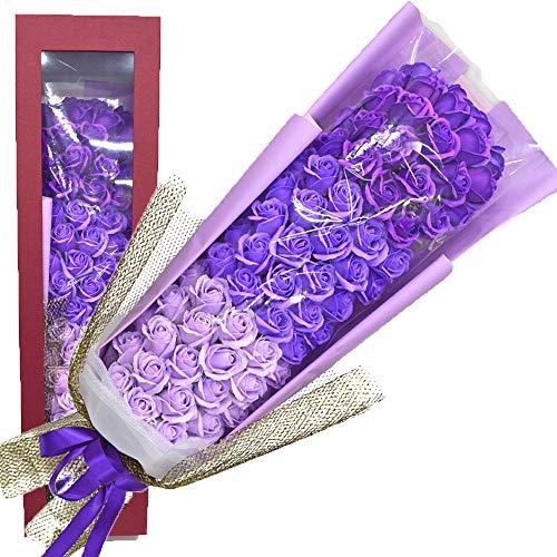 豪華ソープフラワーブーケ パープル70輪 紫 古希祝い 誕生日 ギフト プレゼント 贈り物(パープル)