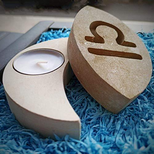 Waage Sternzeichen Teelicht Kerzenhalter aus Stein - Handgemacht in Italien - Box, Teelicht Kerze und Nachrichtenkarte enthalten - Geschenkidee Geburtstag September Oktober Luft Weihnachten
