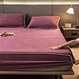 YFGY Sabana Bajera King, sábanas con Estampado de Dibujos Animados, Forro Polar de Coral elástico para el hogar, Funda de colchón, sábana cálida de Invierno, púrpura 180 * 200 cm