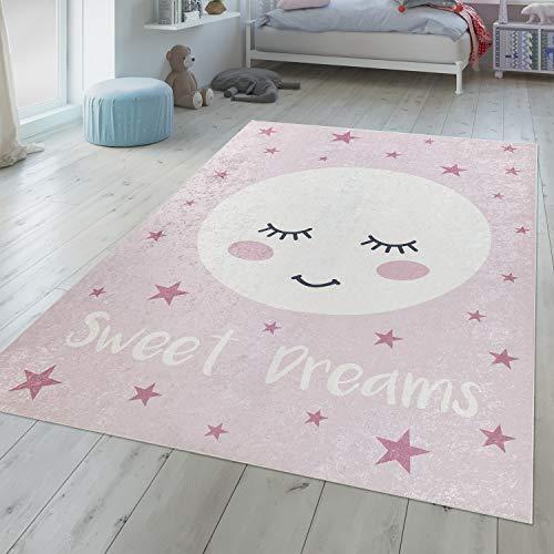 TT Home Alfombra Habitación Infantil Niña Lavable Luna Dormida Frase Bonita Rosa Blanco, Größe:80x150 cm