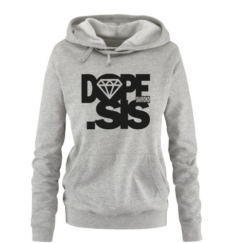 Comedy Shirts - DOPE .SIS - DOPE Diamond - Einfarbig - Damen Hoodie - Grau/Schwarz Gr. XL