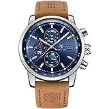 BENYAR Men's Quartz Watches Leather Business Chronograph Watch for Men Waterproof Calendar Clock Casual Sports Watch Military Wristwatches, Luminous Hands, Gifts (Brown Silver Blue)