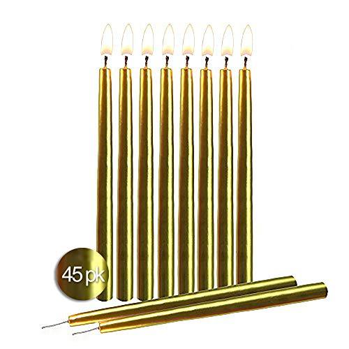 Hyoola - Paquete de 45 velas para cumpleaños, decorativas, sin goteo, para fiestas, pasteles, centro de mesa, diseño cónico elegante, 14 cm
