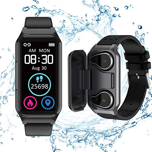 Smart Watch Earbuds 2 in 1 Activity Bracelet Wireless Stereo Earphones with TWS Sleep Fitness Tracker, Pedometer, Calorie Counter, Heart Rate, Blood Pressure, Sport Headset for iPhone Android Phones