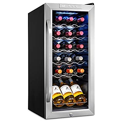 Ivation 18 Bottle Compressor Wine Cooler Refrigerator w/Lock | Large Freestanding Wine Cellar For Red, White, Champagne or Sparkling Wine | 41f-64f Digital Temperature Control Fridge Stainless Steel