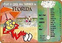 バークラブカフェファームの家の装飾アートポスターのためのヴィンテージメタルティンサインフロリダ夏の旅行