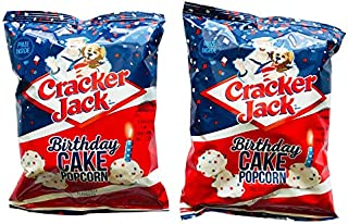 Cracker Jack Birthday Cake Coated Popcorn 4 Oz Pack Of 2! Cake Flavored Coated Popcorn Decorated with Blue and Red Sprinkles! Always Had A Prize Inside!