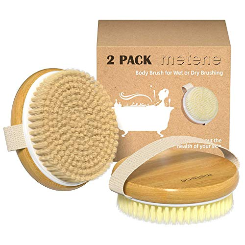 2 Pack Dry Body Brush, Shower Brush Wet and Dry Brushing, Dry brush for Cellulite and Lymphatic, Body Scrubber with Soft and Stiff Bristles, Suitable for All Kinds of Skin (color 1)