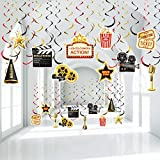 Hollywood Movie Theme Party Hanging Swirls, Lights Camera Action Movie Night Party Black Gold Foil Swirl Decorations for Hollywood Movie Night Party Awards Night Ceremony Decorations Supplies 30 Count