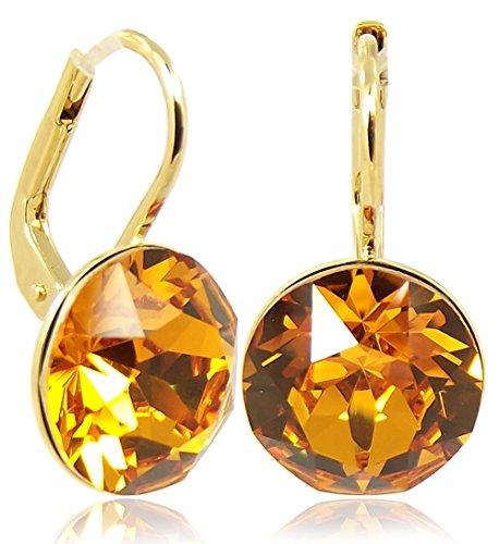Ohrringe mit Kristalle von Swarovski® Gold Braun NOBEL SCHMUCK