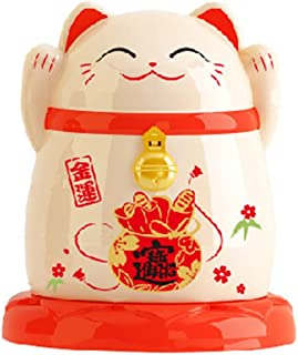 Small Jewelry or Q-tip Cotton Swabs Holder Mini Toothpick Holder Cute Lucky Cat for Home hotel restaurant kitchen Dust-proof Decoration Case Box Storage Organizer,2.6x2.6x3 inch (Beige)