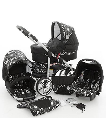 Milk Rock Baby Rock Baby Kinderwagen Komplettset (Autositz & Adapter, Regenschutz, Moskitonetz, Schwenkräder) 01 Schwarz & Totenkopf