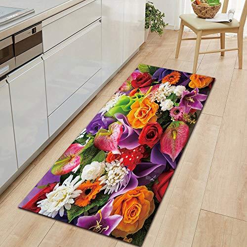 HLXX Alfombrillas de la Serie de Flores Alfombrillas Antideslizantes alfombras de decoración del hogar Alfombrillas para la Cocina y la Sala de Estar A1 50x160cm