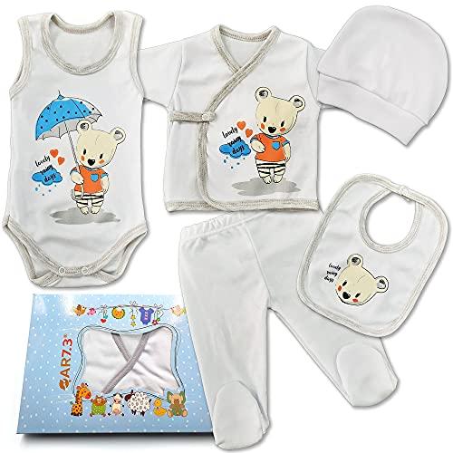 QAR7.3 Conjunto de Ropa Bebe Recien Nacido - 100% Algodón - Set Regalo 5 Piezas: Body, Pijama, Pantalon, Babero, Gorro (Blanco, 0-3 meses)