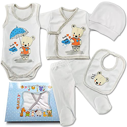 QAR7.3 Completo Vestiti Neonato 0-3 mesi - Set Regalo, Corredino da 5 pezzi: Body, Pigiama, Bavaglino e Cuffietta (Bianco, taglia 56)